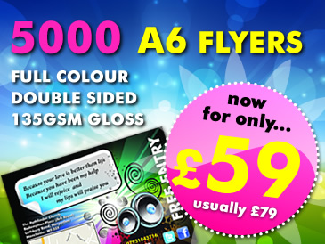 Special Offer: 5000 A6 Flyers Double Sided Printed For Only £59
